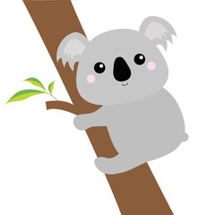 Koala face head hanging on eucalyptus tree. Gray silhouette. Kawaii animal. Cute cartoon bear character. Funny baby with eyes, nose, ears. Love Greeting card. Flat design. White background Isolated.