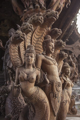 Wooden sculpture in The Sanctuary of Truth. Pattaya