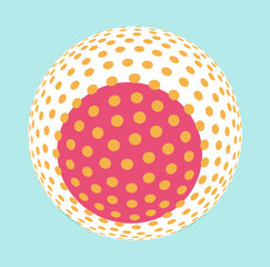 asian style dotted sphere illustration in soft blue pink on blue