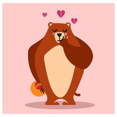 sad crying broken heart brown grizzly bear animal mascot cartoon character
