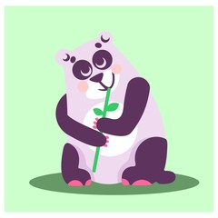 cute chubby purple panda eating bamboo animal mascot cartoon character