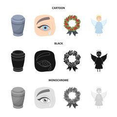 The urn with the ashes of the deceased, the tears of sorrow for the deceased at the funeral, the mourning wreath, the angel of death. Funeral ceremony set collection icons in cartoon,black,monochrome