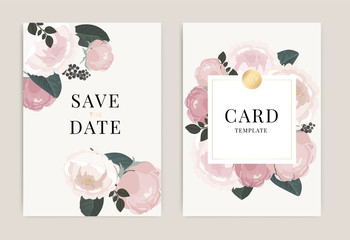 Wedding Invitation, floral invite thank you, rsvp modern card Design in white peony with golden rose and tropical palm leaf greenery eucalyptus branches decorative Vector elegant rustic template