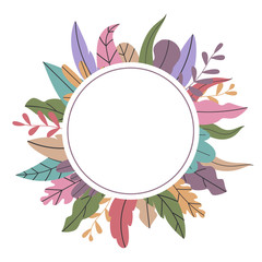 botanical plants leaves twigs round circle frame template background