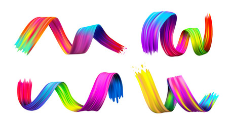 Set of colorful brush stroke oil or acrylic paint design element. Vector illustration. Isolated on white background