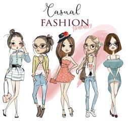 set with cute cartoon girls