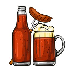 Vector colorful illustration of beer mug with sausage and glass bottle filled with dark beer. Beer bottle and glass of beer with sausage, isolated on white background 1.1