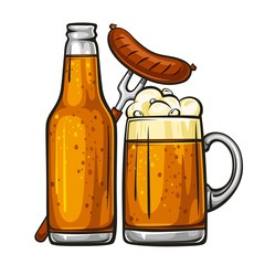 Vector colorful illustration of beer mug with sausage and glass bottle filled with beer. Beer bottle and glass of beer with sausage, isolated on white background 1.1