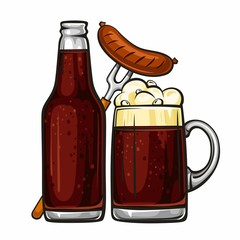 Vector colorful illustration of beer mug with sausage and glass bottle filled with dark beer. Beer bottle and glass of beer with sausage, isolated on white background 2.1