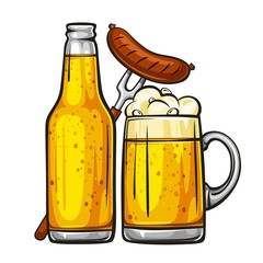 Vector colorful illustration of beer mug with sausage and glass bottle filled with light beer. Beer bottle and glass of beer with sausage, isolated on white background 1.1