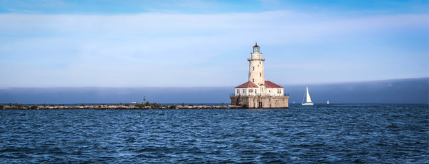 Fototapeten Leuchtturm USA / Chicago Harbor Lighthouse on Michigan lake