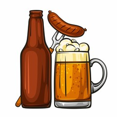 Vector colorful illustration of beer mug with sausage and glass brown bottle. Beer bottle and glass of light beer with sausage, isolated on white background 1.1