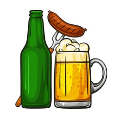 Vector colorful illustration of beer mug with sausage and glass green bottle. Beer bottle and glass of light beer with sausage, isolated on white background 1.1