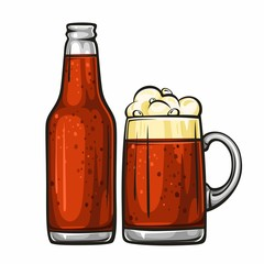 Vector colorful illustration of beer mug and glass bottle filled with dark beer. Beer bottle and glass of beer, isolated on white background 1.1