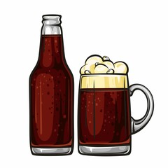 Vector colorful illustration of beer mug and glass bottle filled with dark beer. Beer bottle and glass of beer, isolated on white background 2.1