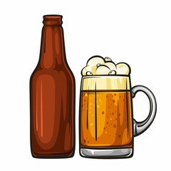 Vector colorful illustration of beer mug and glass brown bottle. Beer bottle and glass of light beer, isolated on white background 1.1