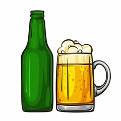 Vector colorful illustration of beer mug and glass green bottle. Beer bottle and glass of light beer, isolated on white background 1.1