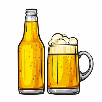 Vector colorful illustration of beer mug and glass bottle filled with light beer. Beer bottle and glass of beer, isolated on white background 1.1