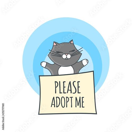International homeless animals day illustration vector. Cute grey ...