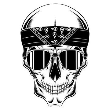 Vector image skull in bandana and glasses