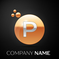 Silver Letter P logo. Gold dots splash and abstract liquid bubble shape on black background. Vector template for your design