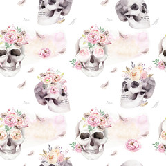 Fotorolgordijn Aquarel schedel Vintage watercolor patterns with skull and roses, wildflowers, Hand drawn illustration in boho style. Floral skull wallpaper, Day of The Dead