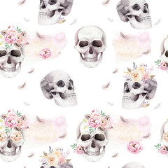 Foto auf Acrylglas Aquarell Schädel Vintage watercolor patterns with skull and roses, wildflowers, Hand drawn illustration in boho style. Floral skull wallpaper, Day of The Dead