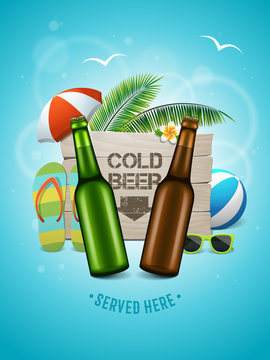 Summer craft beer poster. Two bottles on the summer background with wooden logo, palm trees, beach ball, umbrella, flip flops and sunglasses. Vector banner for beach bar. Cold beer served here text