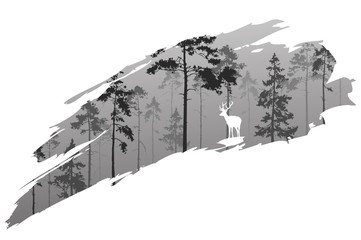 Wall Mural - forest and deer