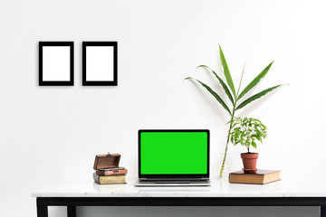 Mockup laptop with green screen on marble desk with nature leaf put on the table.