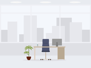 Design of modern empty office front view. Vector illustration of working place