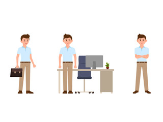 Young business man in office cartoon character. Vector illustration of clerk different poses