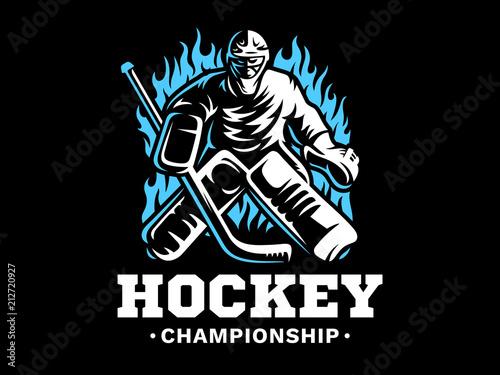 Ice Hockey Goalie On Fire Emblem Design Illustration On A Black