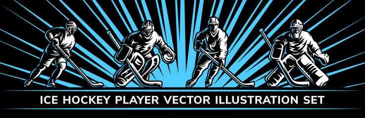 Ice hockey vector player illustration collections on a black background