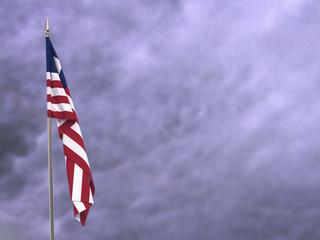 Flag of Liberia hanging down dangling