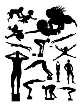 Silhouette of swimmer. Good use for symbol, logo, web icon, mascot, sign, or any design you want.