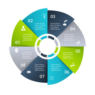 Circle diagram divided into 8 parts, steps or options. Vector origami infographic design template. Illustration for project steps visualization. Business presentation.
