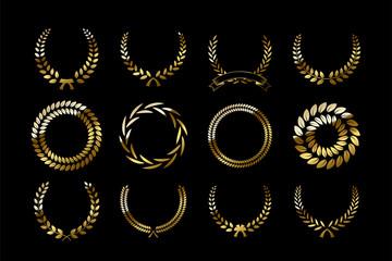 Set of golden laurel wreaths isolated on black background. Vector design elements.