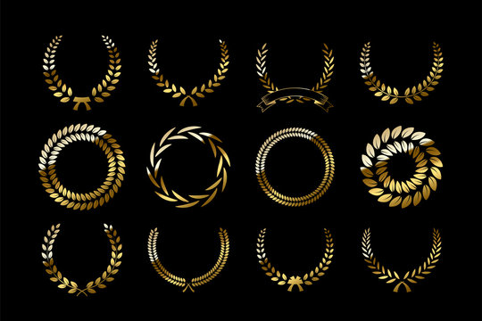 Set of golden laurel wreaths isolated on black background. Vector design elements.