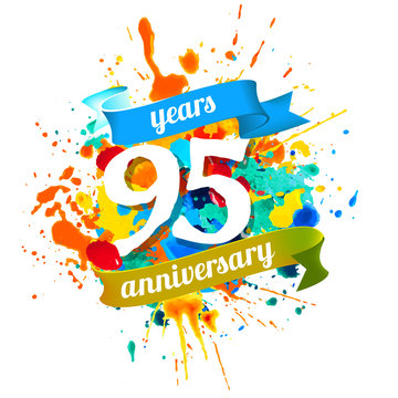 95 years anniversary. Splash paint