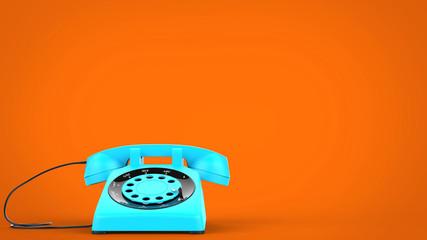 Sky blue vintage telephone