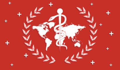 Healthcare - symbol - laurel wreath, world map, Staff and snake - flat style - vector