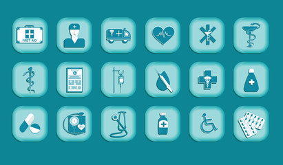 Medicine Concept Set of symbols in a square frame - turquoise background - art vector