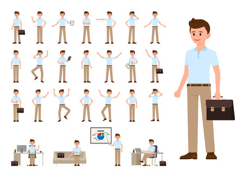 Business man in casual office look cartoon character set. Vector illustration of office person in different poses