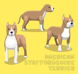 Dog American Staffordshire Terrier Cartoon Vector Illustration