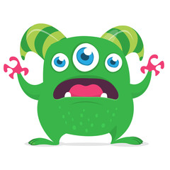Cute cartoon alien monster with three eyes. Vector illustration isolated on white