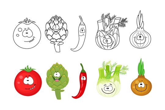 Cartoon vegetables  set. Coloring book pages for kids. Tomato, a