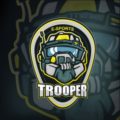 E-sports mascot of futiristic trooper soldier head in heavy helmet