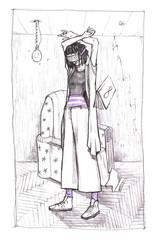 Pencil handmade illustration. Girl in the room in a virtual reality glasses. Dark mood Illustration.