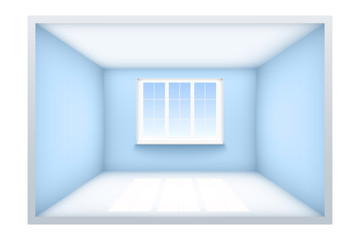 Example of an empty room with blue walls and a window. Simple interior without furnish and furniture. Sunlight falls from the window to the floor. Vector Illustration